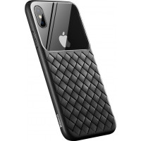 Чехол Baseus для iPhone XS Max Glass & Weaving WIAPIPH65-BL01 (черный)