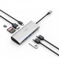 USB-C Хаб WiWu Alpha 731HP MicroSD/SD/HDMI/USB-C/3xUSB (серый)