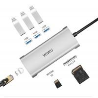 USB-C Хаб WiWu Alpha A631STR 3xUSB/RJ45/SD/microSD (серый)