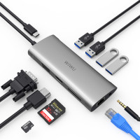 USB-C Хаб WiWu Alpha A11 3xUSB/HDMI/RJ45/VGA/3.5mm/USB-C/SD/MicroSD (серый)