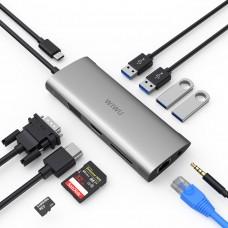 USB-C хаб WiWu Alpha 11 in 1 3xUSB3.0/HDMI/RJ45/VGA/Audio 3.5mm/ USB-C/MicroSD/SD (серый) (серый)