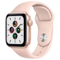 Apple Watch SE, 44 мм, корпус из алюминия золотого цвета, спортивный ремешок цвета «розовый песок»