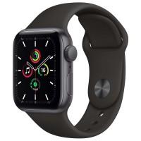 Apple Watch SE, 40 мм, корпус из алюминия цвета «серый космос», спортивный ремешок чёрного цвета