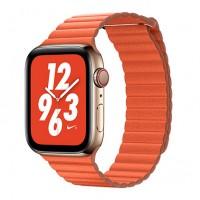 Кожаный блочный ремешок COTEetCI WH5205-OR Leather Loop 38/40mm для Apple Watch (Оранжевый)