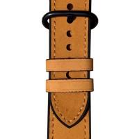 Кожаный ремешок+силиконовый бампер для Apple Watch 44мм (коричневый)