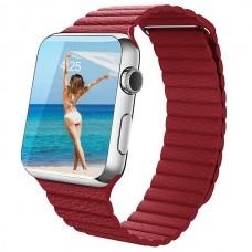 Кожаный блочный ремешок Leather Loop 38/40mm для Apple Watch (красный)