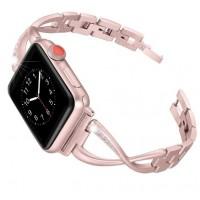 Металлический браслет для Apple Watch 42/44mm Diamond Strap (розовый)
