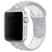 Спортивный ремешок Nike + для Apple Watch 42/44мм (Silver/White)