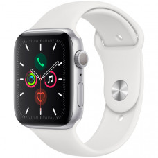 Apple Watch Series 5, 44 мм, корпус из алюминия серебристого цвета, спортивный браслет белого цвета