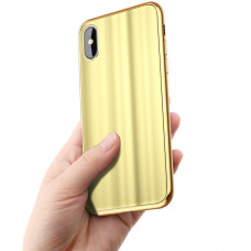 Бампер Baseus Glass sparking case для iPhone X (Золотой)