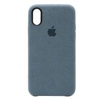 Накладка Alcantara Cover для iPhone Xs Max (Azure)