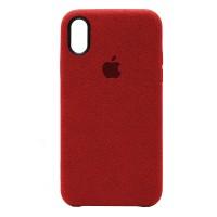 Накладка Alcantara Cover для iPhone Xs Max (Red)