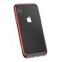 Бампер Baseus Platinum Metal Border для iPhone X (Красный)