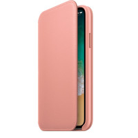 Чехол-книга Leather Folio для iPhone X (розовый)