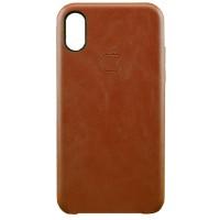 Накладка кожаная для iPhone X (коричневый)