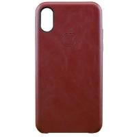 Накладка кожаная для iPhone X (бордовый)