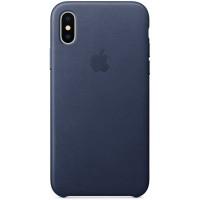 Накладка Leather Case для iPhone Xs (Midnight Blue)
