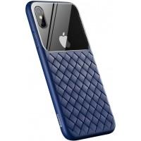 Чехол Baseus для iPhone XS Max Glass & Weaving WIAPIPH65-BL03 (синий)