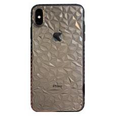Бампер силиконовый с узором для iPhone X/Xs (черный)