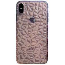 Бампер силиконовый с узором для iPhone X/Xs (прозрачный)