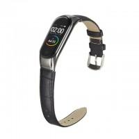 Кожаный браслет для Mi Band 5 (черный)