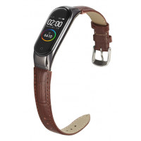 Кожаный браслет для Mi Band 5 (коричневывый)