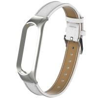 Кожаный браслет для Mi Band 5 (белый)
