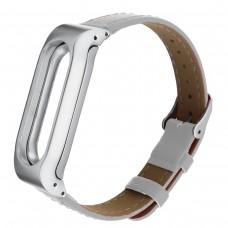 Кожаный браслет для Mi Band 4 (белый)